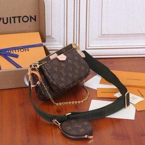 LV women's black  Multi Bag Shoulder Bag Wallet